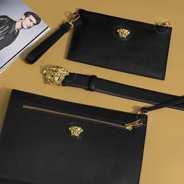 Ví Cầm Tay Versace Medusa Gold Black Calfskin Leather Clutch màu đen da bê chính hãng