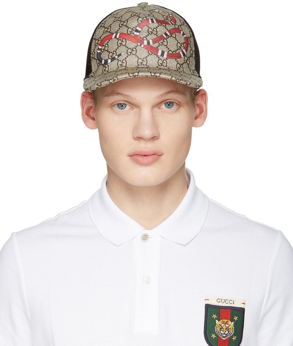 Mua Mũ Gucci Kingsnake Print GG Supreme Baseball Beige Size M, hình rắn đỏ, Giá tốt ảnh 3