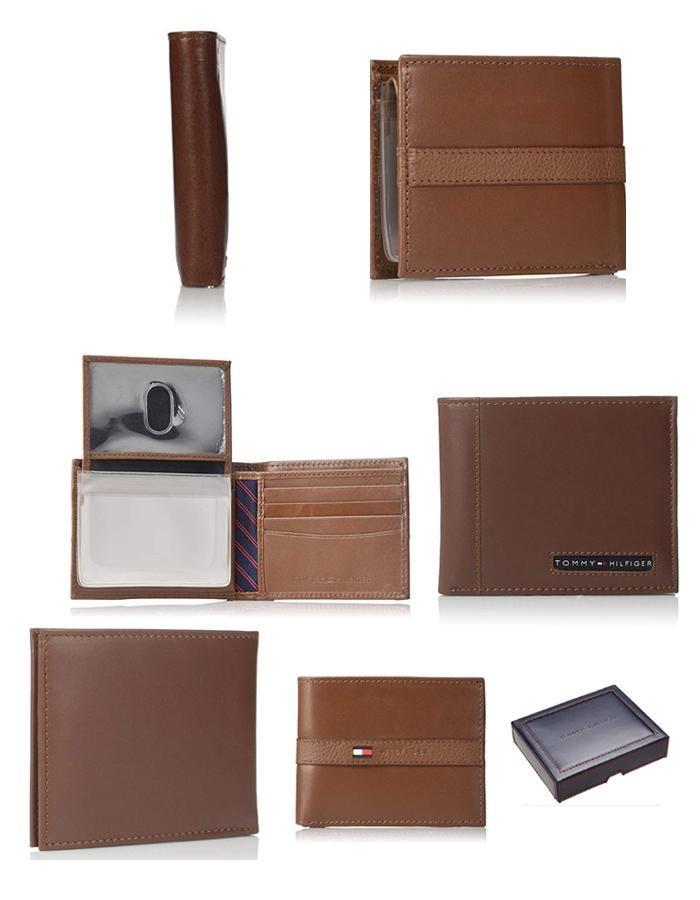 Mua Ví Nam Tommy Hilfiger Men's Thin Sleek Casual Bifold Wallet Tan, màu nâu, Giá tốt