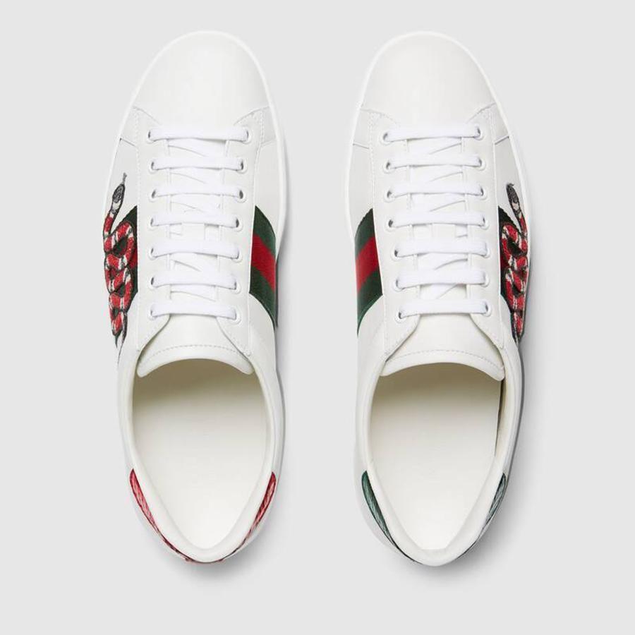 Giày Gucci Men's Ace Embroidered Sneaker Màu Trắng, con rắn đỏ