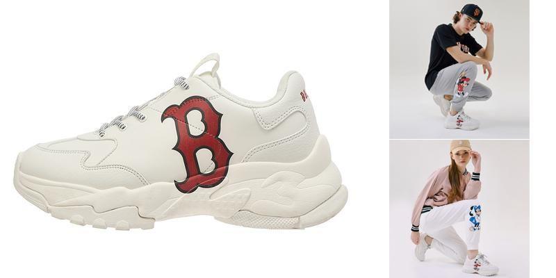 Giày MLB Big Ball Chunky Mickey Boston Red Sox Màu Trắng