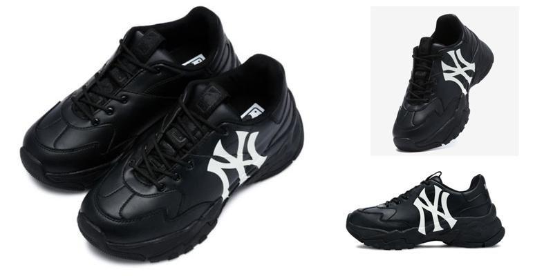 Giay Sneaker MLB Big Ball Chunky A Mau Den Logo Trang
