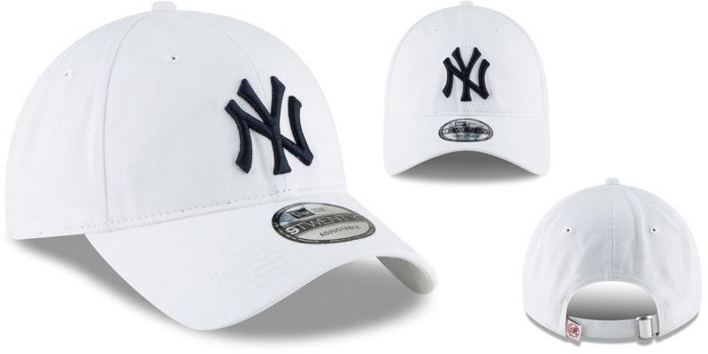 Mu MLB Mens New York Yankees New Era White Core Classic Secondary 9TWENTY Adjustable Hat màu trắng