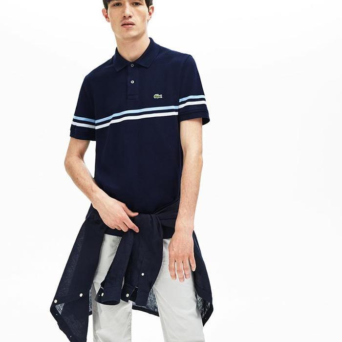 Áo Phông Lacoste Regular Fit Tricolour Striped Polo Shirt Màu xanh Navy Size S cao cấp Mỹ
