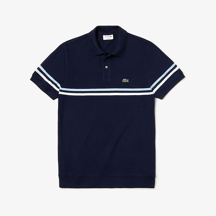 Áo Phông Lacoste Regular Fit Tricolour Striped Polo Shirt Màu xanh Navy Size S chính hãng
