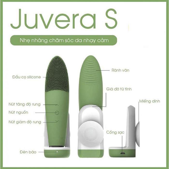 Máy rửa mặt Juvera S màu xanh Green chính hãng Hàn Quốc, làm sạch massage, Giá tốt