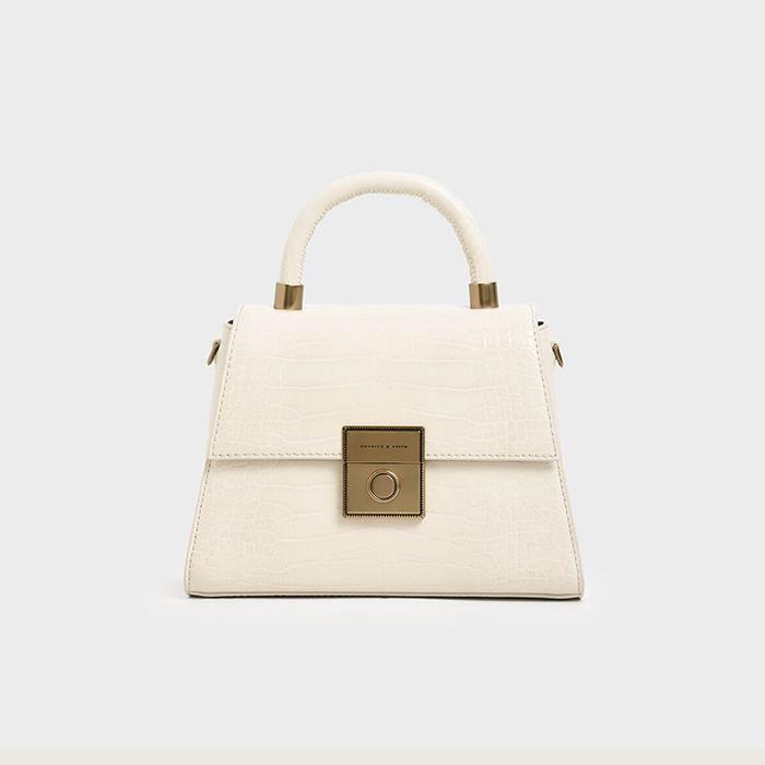 Thiết kế túi xách Croc-Effect Structured Sculptural Bag CK2-50781127 màu trắng - 1