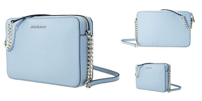 Túi Michael Kors Jet Set Large Saffiano Leather Crossbody- Powder Xanh Blue