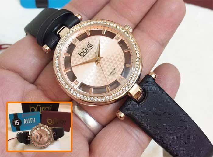 Thiết kế đồng hồ Burgi BUR104RG màu đen dây Satin nữ