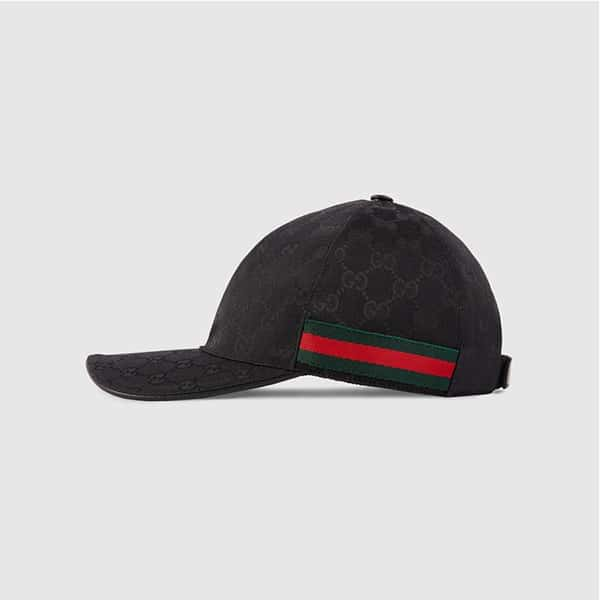 Nón kết Gucci Original GG Canvas Baseball With Web Black Size M màu đen Unisex