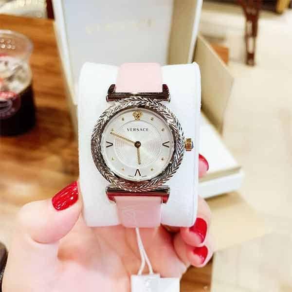 Đồng hồ Versace VERE00118 V-Motif Dây Da Hồng Nude cho nữ