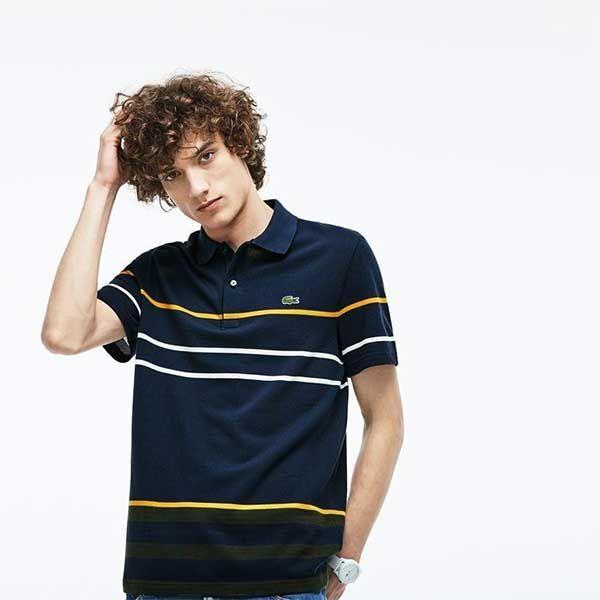 Áo Lacoste Regular Fit Thick Striped Đen Size XS - 1