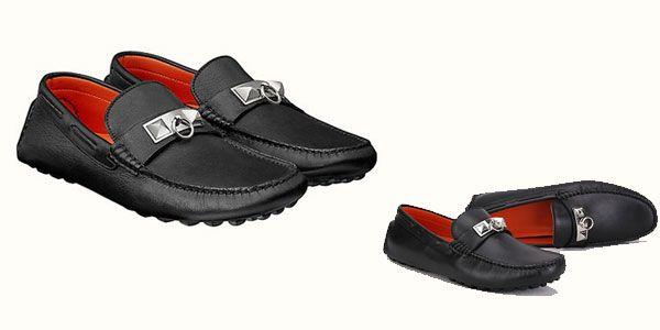 Giày Hermes Irving Calfskin Leather Moccasin da màu đen chính hãng Pháp
