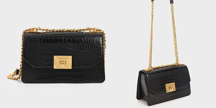 Túi Đeo Vai Charles & Keith Croc-Effect Chain Strap Crossbody Bag Màu Đen chính hãng