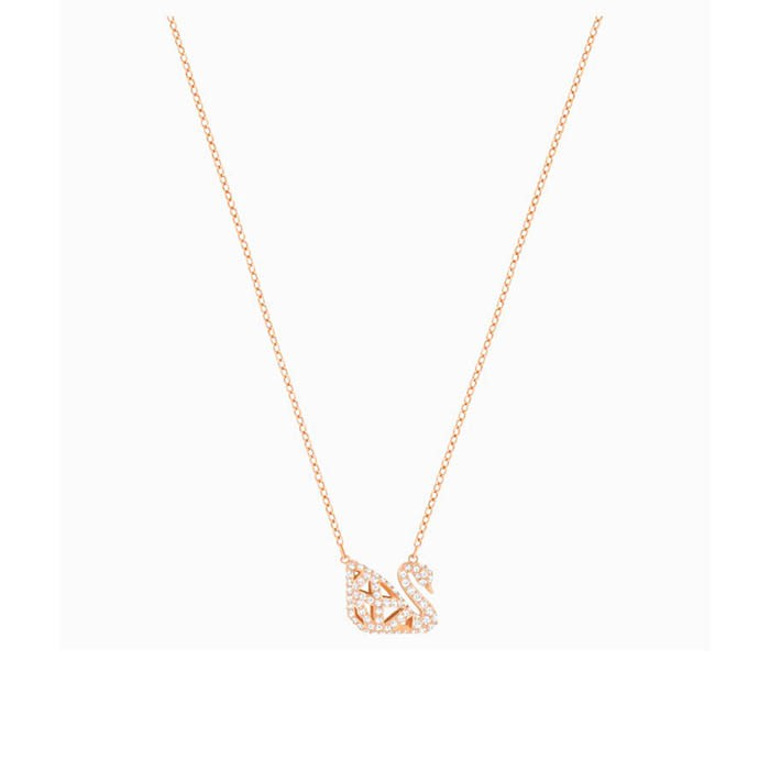 Thiết kế Dây Chuyền Swarovski Facet Swan Necklace, White, Mixed Metal Finish
