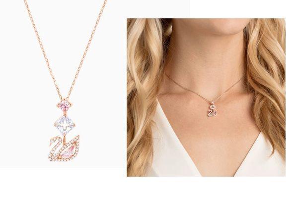 Mua Dây Chuyền Swarovski Dazzling Swan Y Necklace Multi-Colored Rose-Gold Tone Plated vàng hồng, mặt thiên nga pha lê, Giá tốt