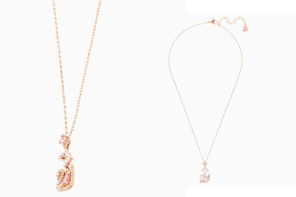Dây Chuyền Swarovski Dazzling Swan Y Necklace Multi-Colored Rose-Gold Tone Plated vàng hồng