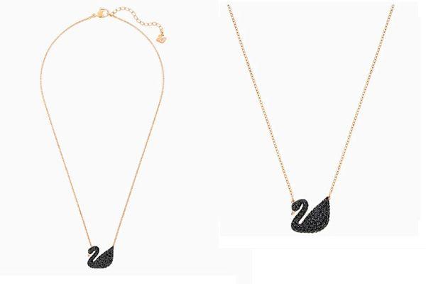 Dây Chuyền Swarovski Iconic Swan Pendant Black Rose-Gold Tone Plated Thiên Nga đen Lớn