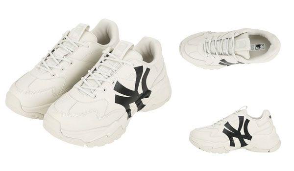 Thiết kế Giày MLB Big Ball Chunky A New York Yankees màu trắng logo đen size 270