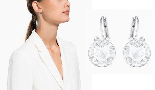 Khuyên Tai Swarovski Bella V Pierced Earrings White Rhodium Plated màu bạc