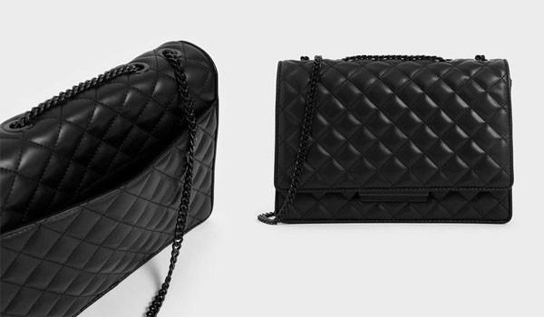Thiết kế Charles & Keith Quilted Chain Strap Shoulder Bag Ultra Matte Black màu đen