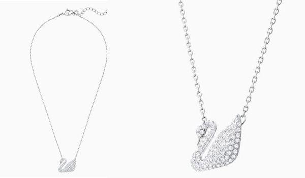 Thiết kế Dây Chuyền Swarovski Swan Pendant, White, Rhodium Plated Thiên Nga