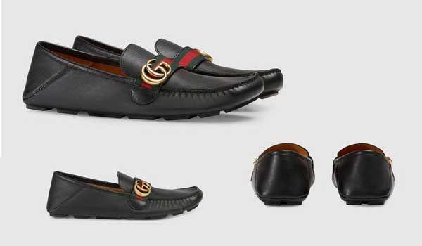 Đặc điểm của giày Gucci Mocassins En Cuir Avec Bande màu đen
