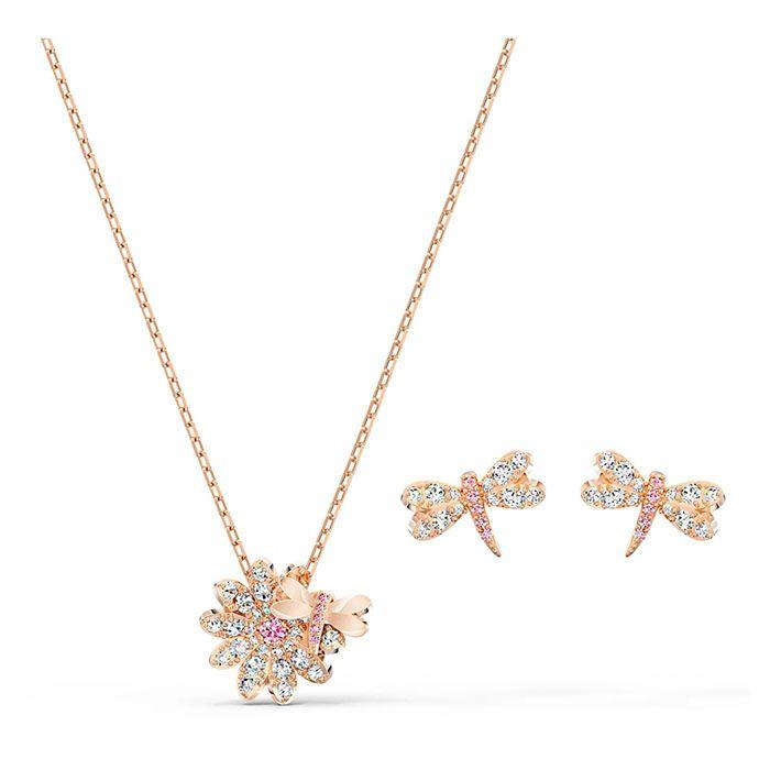 Thiết kế set dây chuyền và khuyên tai Swarovski Eternal Flower Dragonfly màu vàng hồng