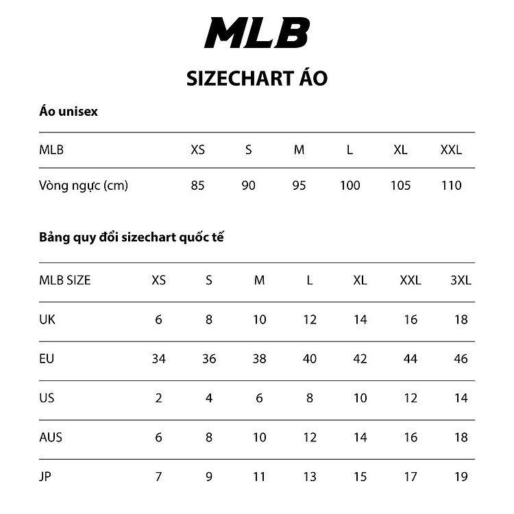 Size áo phông MLB Hàn Quốc