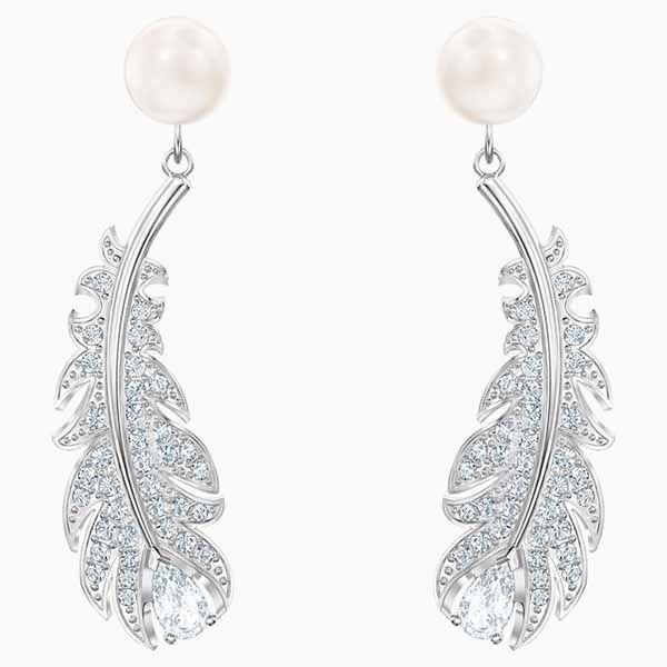 Thiết kế Khuyên Tai Swarovski Nice Pierced Earrings White Rhodium Plated màu Bạc