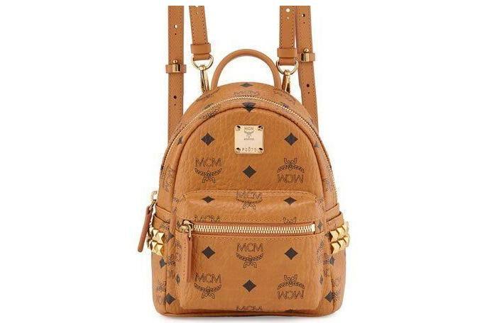 Balo MCM Stark Side Studs Bebe Boo Backpack in Visetos Size X_Mini