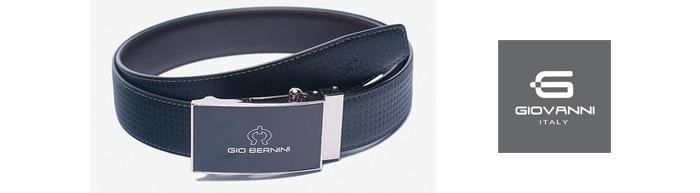 Thắt Lưng Nam Giovanni Bernini MB050-BL-SA Da Bò Màu Đen Mặt Trắng ảnh 2