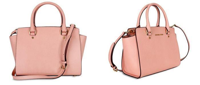 Mua Túi Xách Michael Kors Selma Saffiano Leather Medium Satchel, màu hồng, Giá tốt ảnh 1