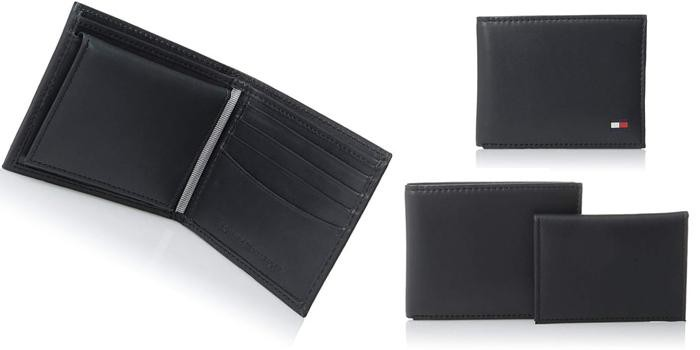 Vi Nam Tommy Hilfiger Men's Thin Sleek Casual Bifold Wallet Navy Dore mau den da bo