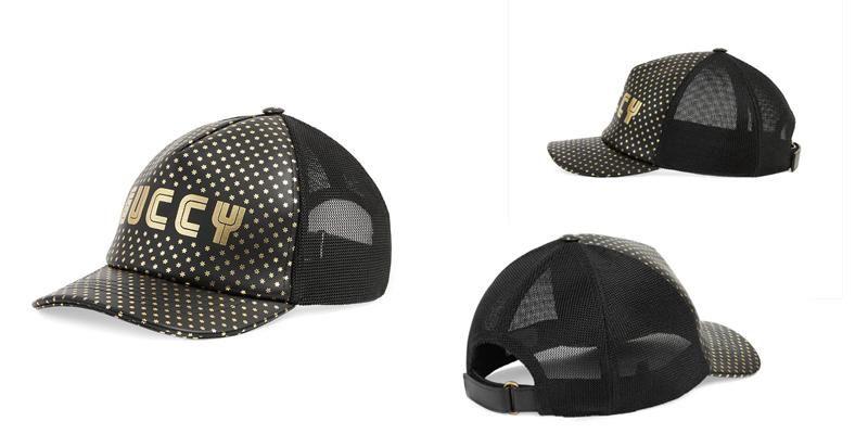 Mua Mũ Gucci Guccy Polka Dot Hat Màu Đen chi tiết sao nhỏ, canvas chính hãng, Giá tốt - 1