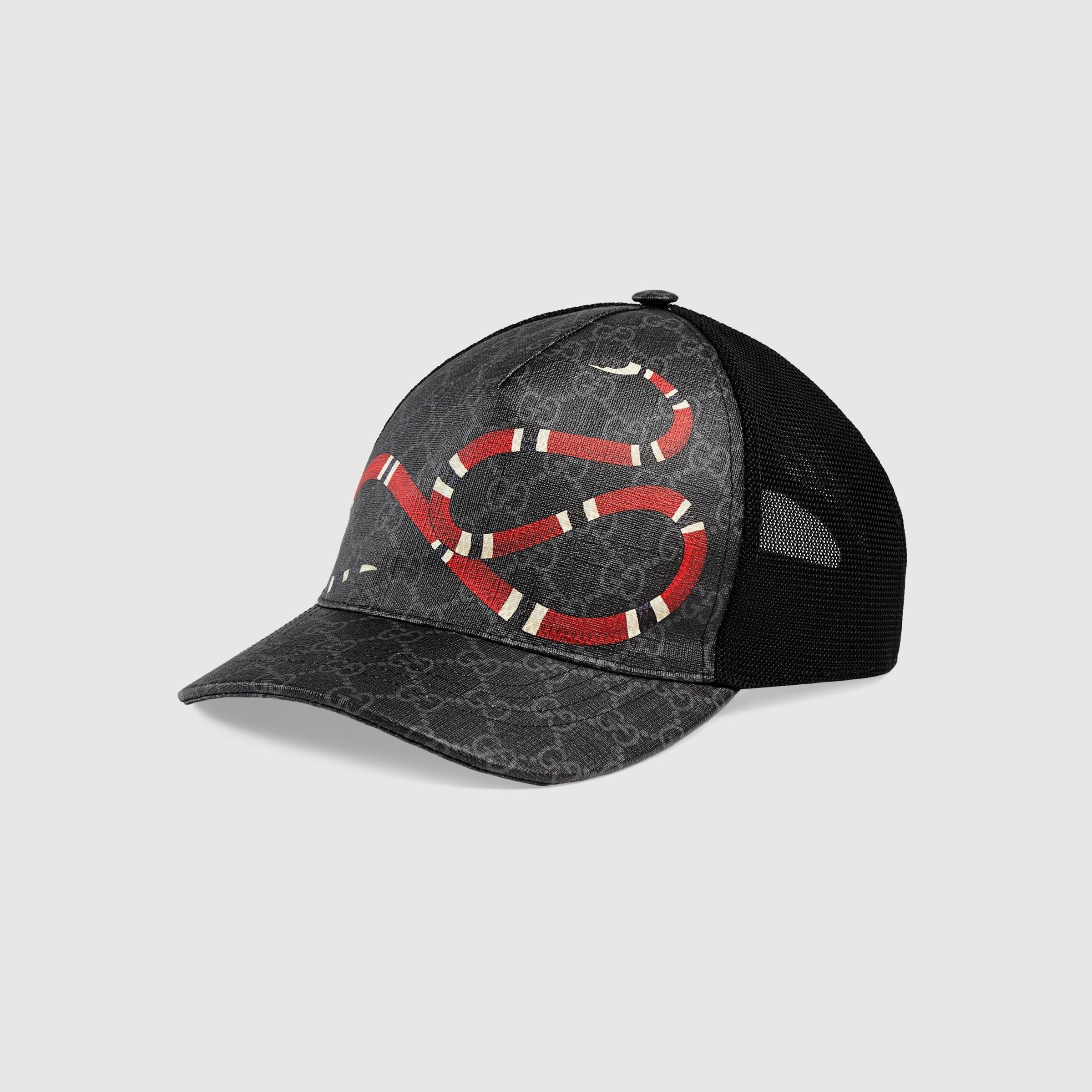 Mua Mũ Gucci Kingsnake Print GG Supreme Baseball Black Size S con rắn, Giá tốt 1