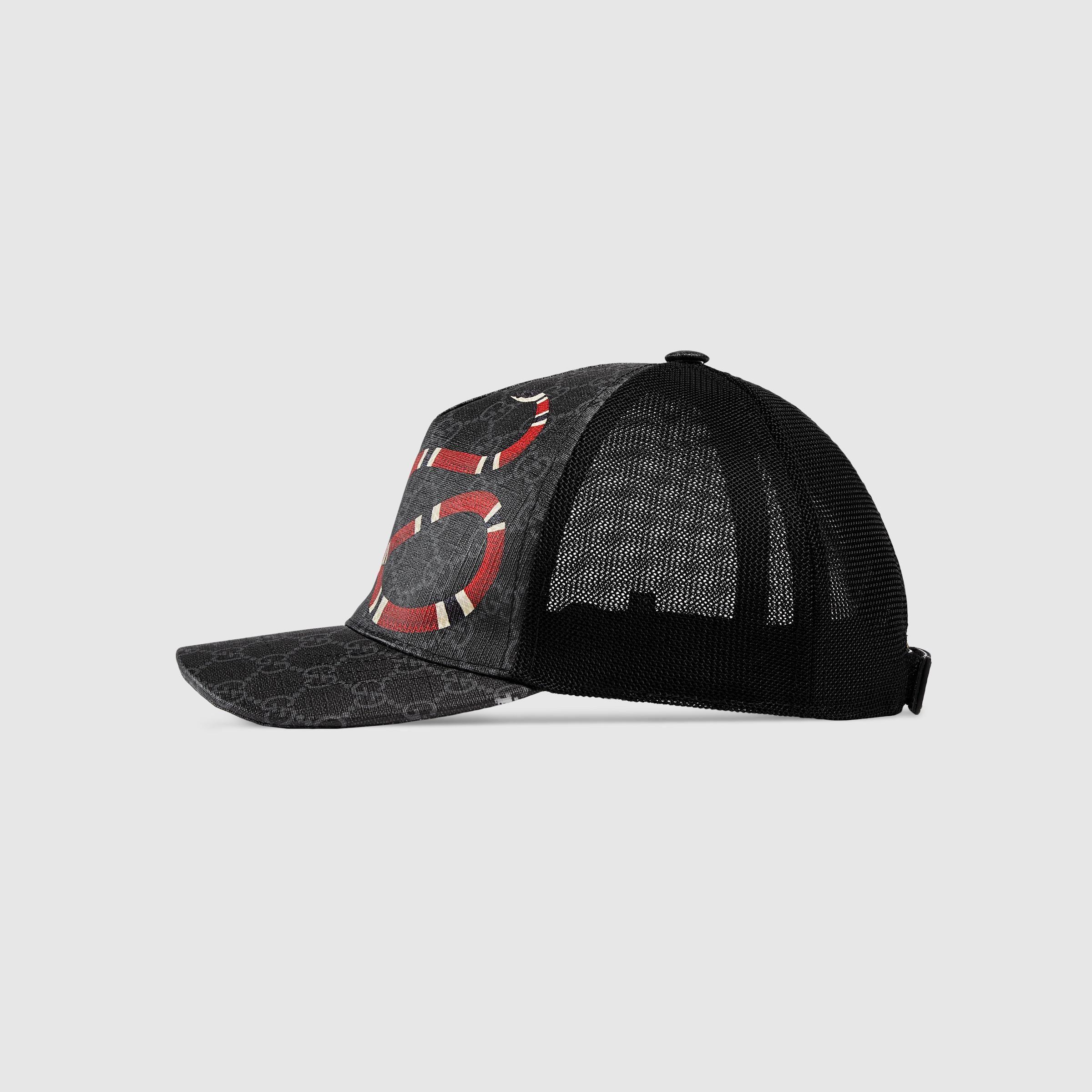 Mua Mũ Gucci Kingsnake Print GG Supreme Baseball Black Size S con rắn, Giá tốt 2