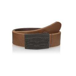 Thắt Lưng Levi's Men's Leather Belt with Large Logo Plaque-Brown