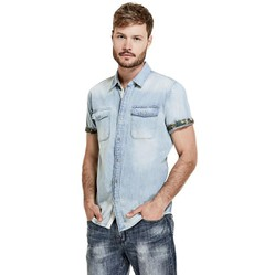 Áo Sơ Mi Denim Guess Slim Fit SS Cameron 2 Pkt
