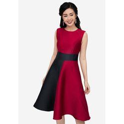 Váy Xòe Heradg Sát Nách Màu Đỏ Phối Đen