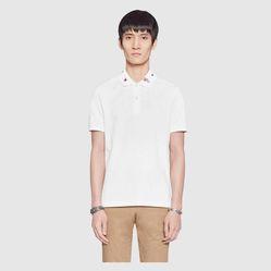 Áo Phông Gucci Embroidered Cotton Polo Màu Trắng, Size S