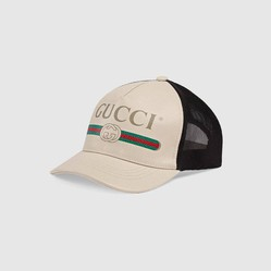 Mũ Gucci Print Leather Baseball Hat Size M