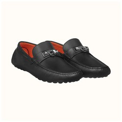 Giày Hermes Irving Calfskin Leather Moccasin Black