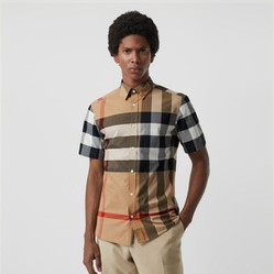 Áo Sơ Mi Burberry Short-sleeve Check Stretch Cotton Shirt Camel Size XS
