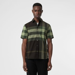 Áo Sơ Mi Burberry Short-sleeve Check Stretch Cotton Shirt Dark Forest Green Size L