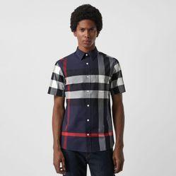 Áo Sơ Mi Burberry Short-sleeve Check Stretch Cotton Shirt Navy Size M