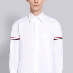 Áo Sơ Mi Grosgrain Armband Oxford Shirt White Size XXS