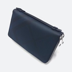 Ví Burberry London England Double Zippy Clutch In Navy