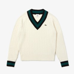 Áo Lacoste Unisex Live Cable Knit Wool Blend Sweater White