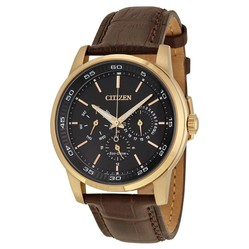 Đồng hồ Citizen Dress Eco-Drive Black Dial Brown Leather Leather Watch